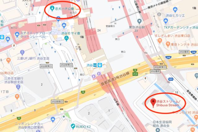 渋谷ストリーム周辺の地図